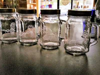 Etched Drinking Jars