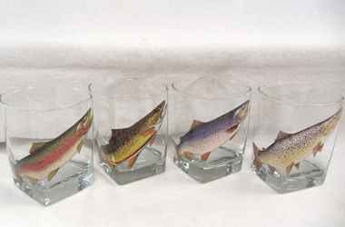 Full Color Trout Square Hi-ball Glass - Rainbow Trout