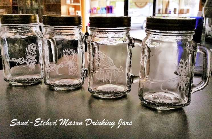 Sand-Etched Mason Drinking Jars